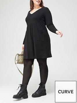 v-by-very-curve-valuenbspjersey-smock-pocket-dress-black