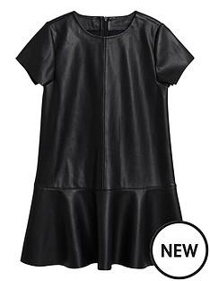 mango-girls-pu-short-sleeve-dress-black