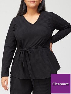 v-by-very-curve-ribbed-loungewear-belted-tunic-black