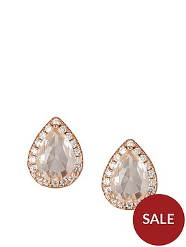 the-love-silver-collection-rose-gold-plated-sterling-silver-glass-morganite-and-white-cubic-zirconia-teardrop-stud-earrings
