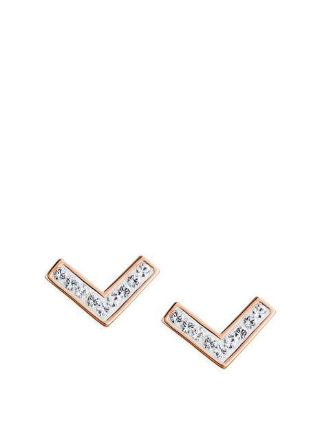 evoke-rose-gold-plated-sterling-silver-clear-swarovski-crystals-v-stud-earrings