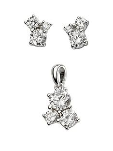 the-love-silver-collection-triple-stone-cubic-zirconia-pendant-and-earring-set