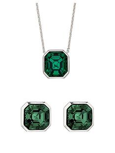 the-love-silver-collection-sterling-silver-asscher-cut-emerald-colour-pendant-and-earring-set-with-swarovski-crystals