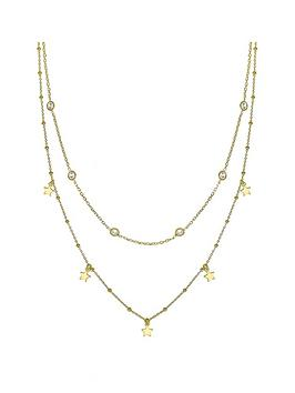 the-love-silver-collection-gold-plated-sterling-silver-cubic-zirconia-and-star-layered-necklace