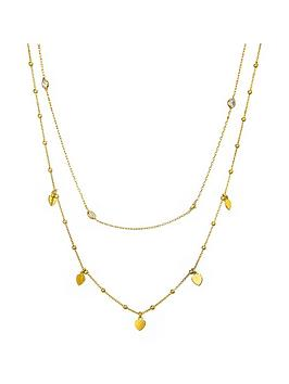 the-love-silver-collection-gold-plated-sterling-silver-cubic-zirconia-ball-bead-and-heart-layered-necklace