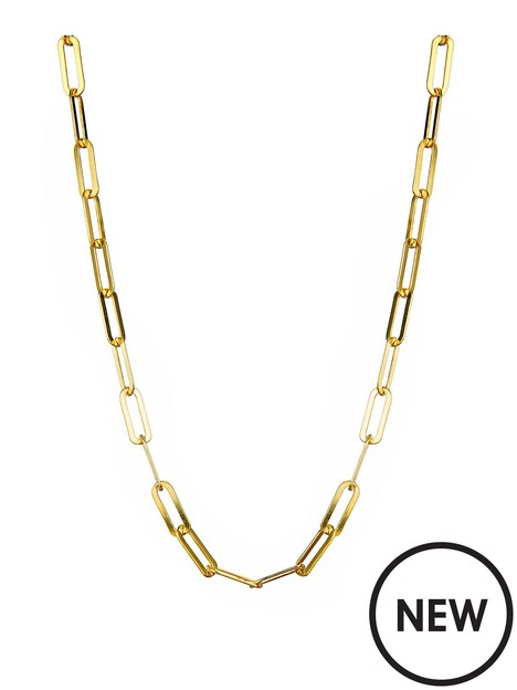 the-love-silver-collection-gold-plated-sterling-silver-paper-clip-chain-necklace
