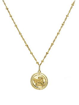 the-love-silver-collection-gold-plated-sterling-silver-cherub-spinner-pendant-withnbspbeaded-chain