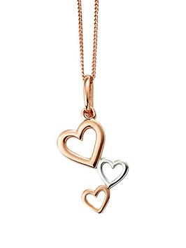 the-love-silver-collection-rose-gold-plated-sterling-silver-heart-cascade-pendant