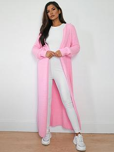 missguided-missguided-popcorn-maxi-cardigan-co-ord-pink