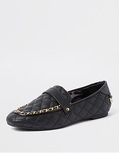 river-island-chain-detail-quilted-loafer-black