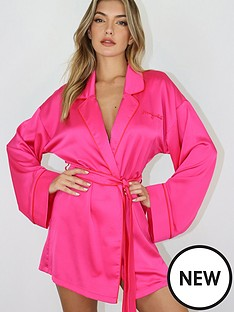 missguided-missguided-scroll-satin-robe-pink