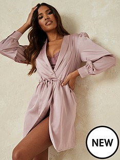 missguided-missguided-balloon-sleeve-satin-robe-pink