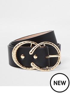 river-island-gold-textured-horse-shoe-belt-black