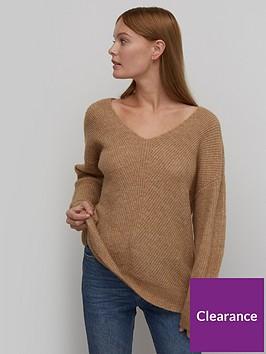 nobodys-child-long-v-neck-fisherman-sweater-camel