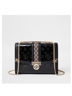 river-island-monogram-embossed-patent-satchel-bag-black