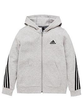adidas-boys-3-stripe-full-zip-hoodie-grey-black