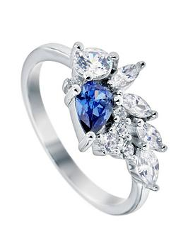 the-love-silver-collection-rhodium-plated-sterling-silver-pear-white-and-tanzanite-cubic-zirconia-mixed-cut-stud-ring