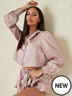 missguided-missguided-balloon-sleeve-satin-shirt-short-pj-set-pink
