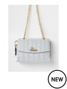 river-island-branded-quilted-lurex-stitch-satchel-bag-grey