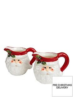 gisela-graham-set-of-2nbspceramic-santa-head-christmasnbspjugs