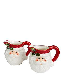 gisela-graham-set-of-2nbspceramic-santa-head-christmasnbspjugs