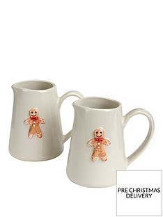gisela-graham-set-of-2-ceramic-gingerbread-man-christmasnbsp-mini-jugs