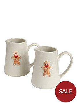 gisela-graham-set-of-2-ceramic-gingerbread-man-christmasnbsp-mini-jugs