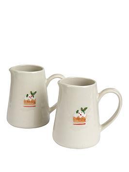 gisela-graham-set-of-2nbspceramic-plum-christmasnbsppudding-mininbspjugs