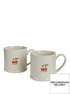 gisela-graham-set-of-2nbspceramic-plum-pudding-christmasnbspmini-mugs