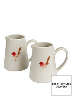 gisela-graham-set-of-2nbspceramic-christmas-robin-mini-jugs