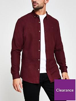 river-island-long-sleeve-flannel-shirt-burgundy