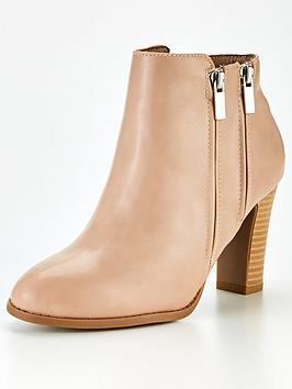 wallis-doublenbspzip-high-heel-casual-boot--nbsp-nude