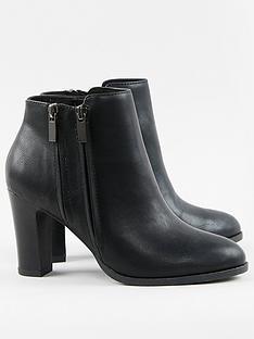 wallis-double-zip-high-heel-casual-boots-black