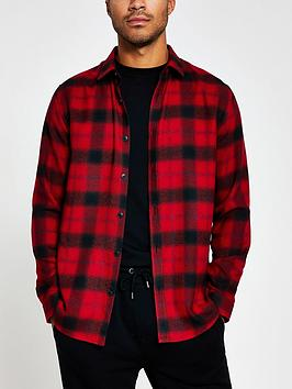river-island-shadow-check-long-sleeve-shirt-rednbsp