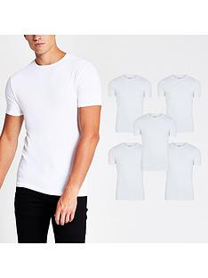 river-island-muscle-fitnbspt-shirt-5-packnbsp--white