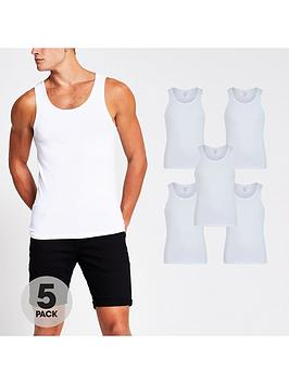 river-island-5-packnbspmuscle-fit-vest-white