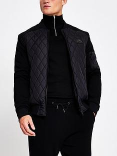 river-island-diamond-grid-bomber-jacket-black