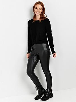 wallis-faux-leather-punbspjeggings-black