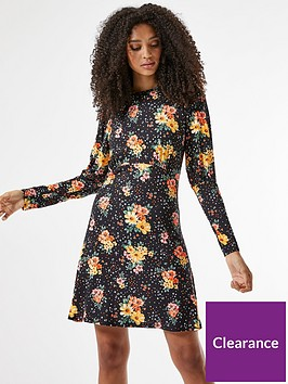 dorothy-perkins-floral-jersey-fit-amp-flare-dress-black