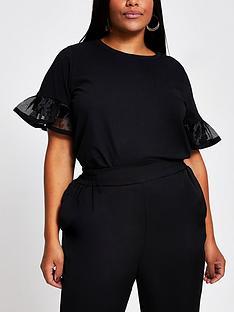ri-plus-mesh-insert-flute-sleeve-t-shirt-black