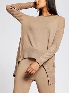 river-island-hi-low-hem-knitted-jumper-camel