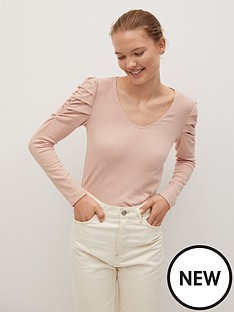 mango-ruched-sleeve-jersey-top-light-pink