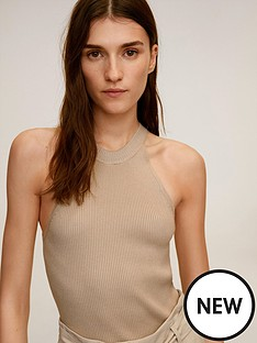 mango-ribbed-halter-neck-top-light-brown
