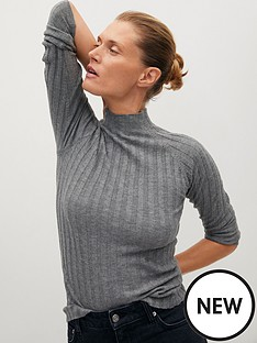 mango-ribbed-roll-neck-jersey-top-grey
