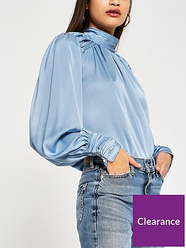 river-island-rouched-high-neck-blouse-blue