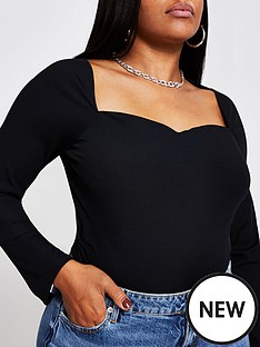 ri-plus-sweetheart-fitted-jersey-top-black