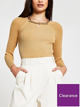 river-island-chain-neck-detail-fitted-knit-top-camel