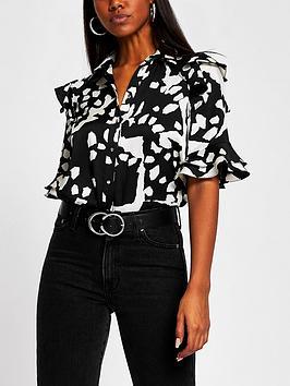 river-island-printed-frill-detail-shirt-black