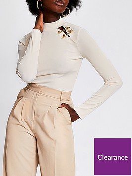 river-island-high-neck-safety-pin-detail-jersey-top-beige