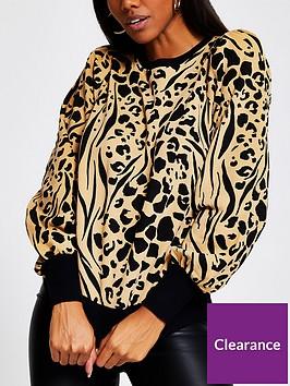 river-island-leopard-print-puff-sleeve-sweater-brown